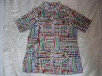 カラフルパッチワーク風半袖シャツ