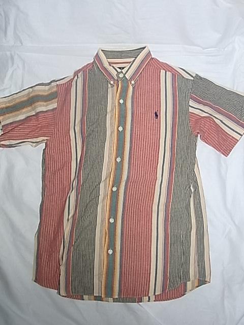 画像1: Ralph Lauren Polo ラルフローレン 半袖シャツ ストライプ柄